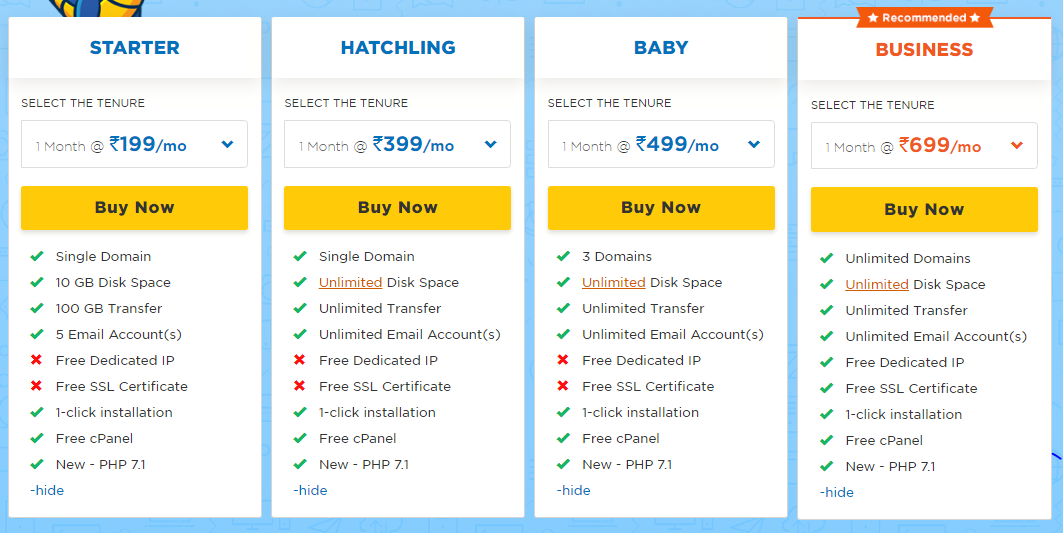 Hostgator plan Top 3 Web Hosting Providers in India