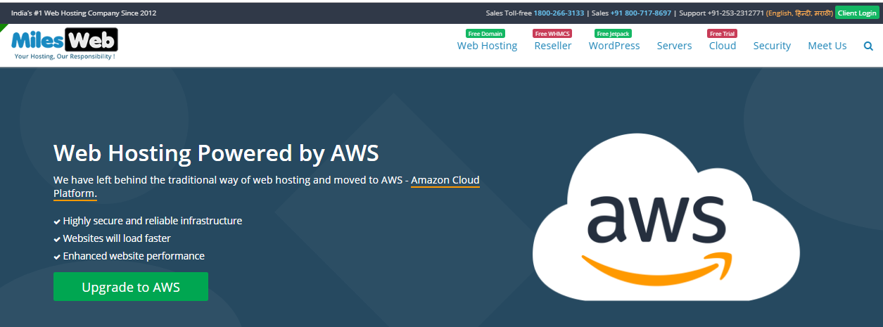 MW AWS Cloud Top 3 Web Hosting Providers in India