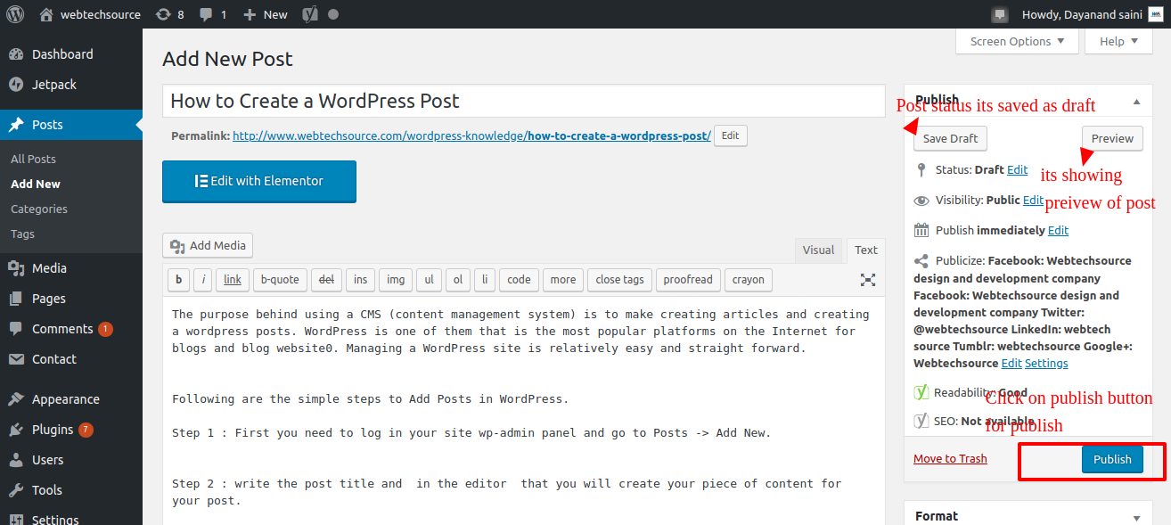 post publish How to Create a WordPress Post
