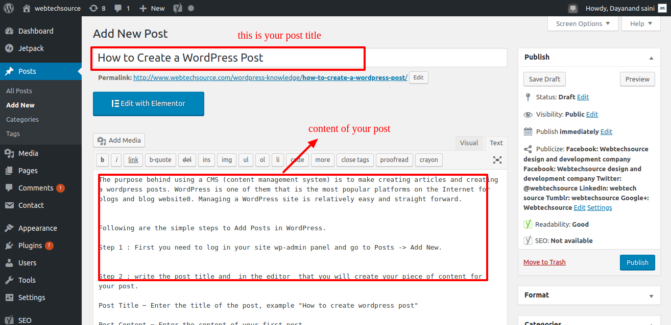 title and content How to Create a WordPress Post