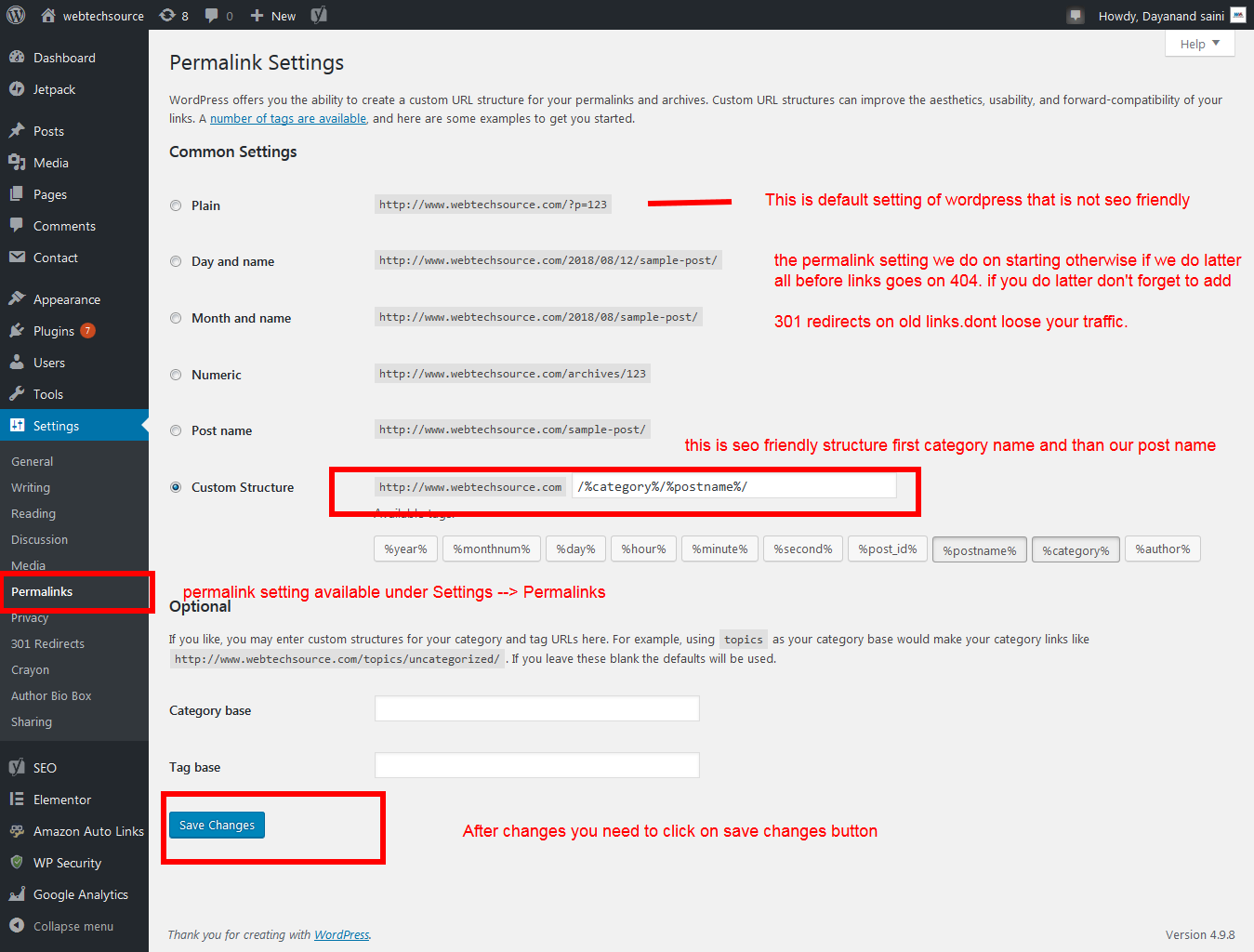 webtechsource permalink WordPress Permalink Structure