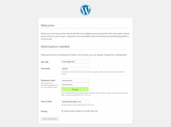 wp6 How To install wordpress
